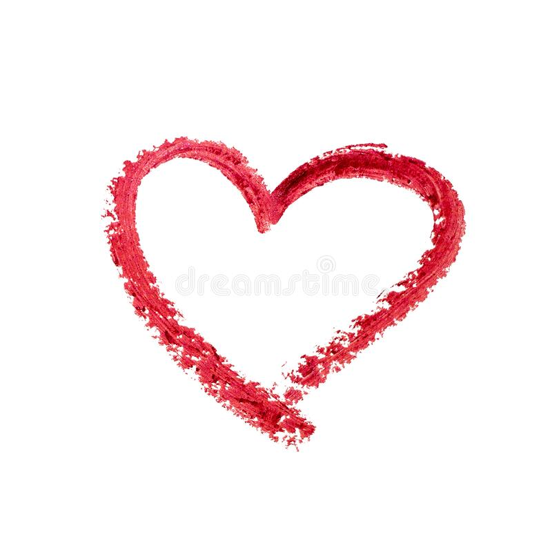 Lipstick heart icon for decoration design. Red Hand drawing Love shape. Holiday element. Valentine day. Romantic wedding stock images