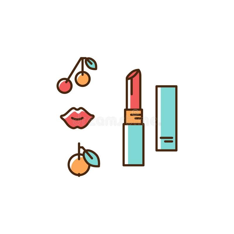 Lipstick icon. Thin line art colorful design, Vector flat illustration vector illustration
