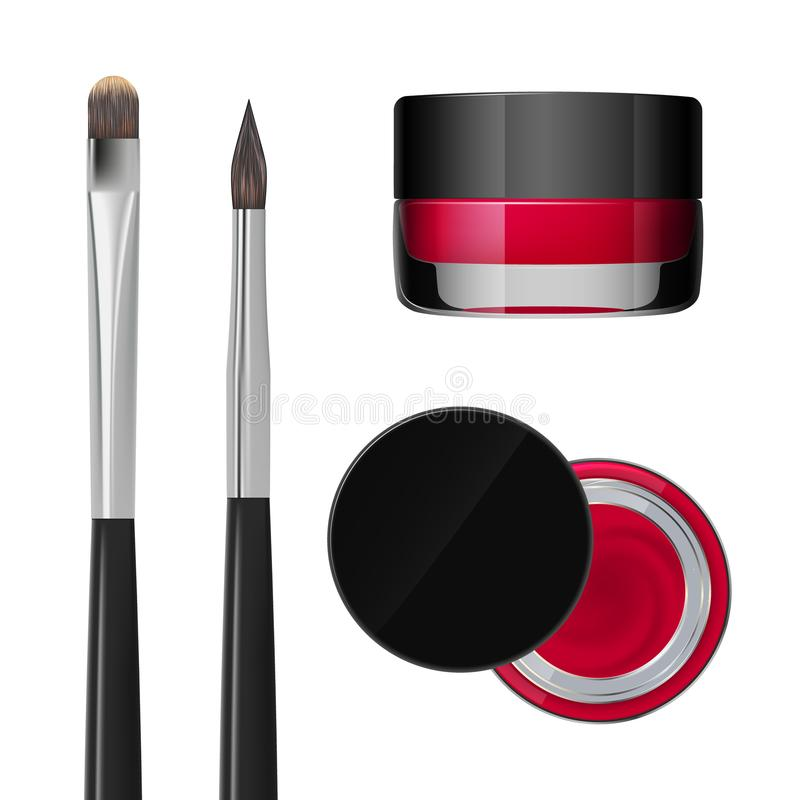 Lipstick in a jar. Eyebrows makeup product. Vector royalty free illustration