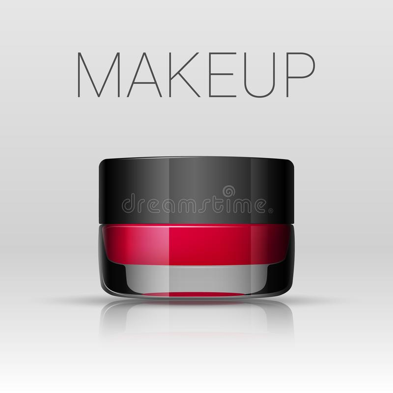 Lipstick in a jar. Eyebrows makeup product. Vector stock illustration