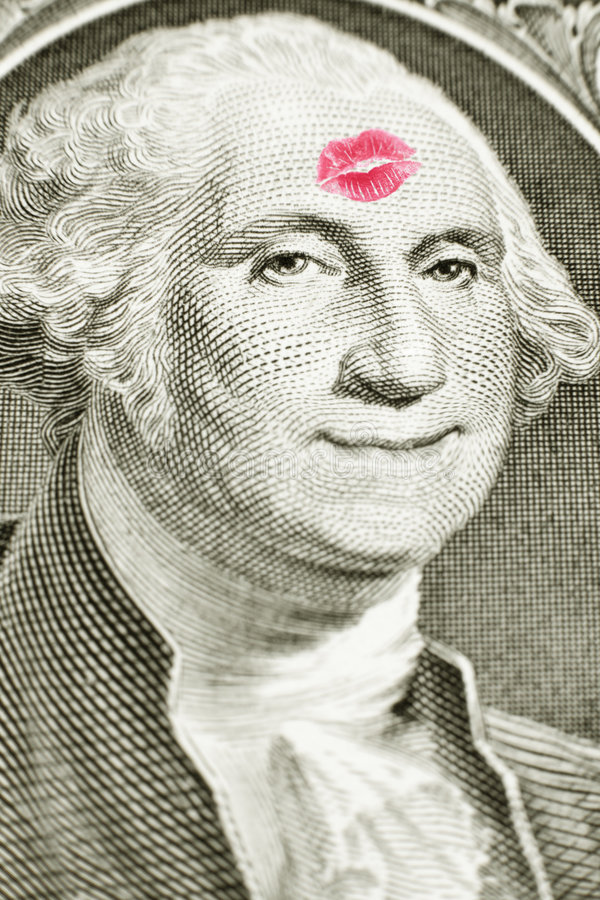 Download Lipstick Kiss On One Dollar Bill Stock Photo - Image: 9021870