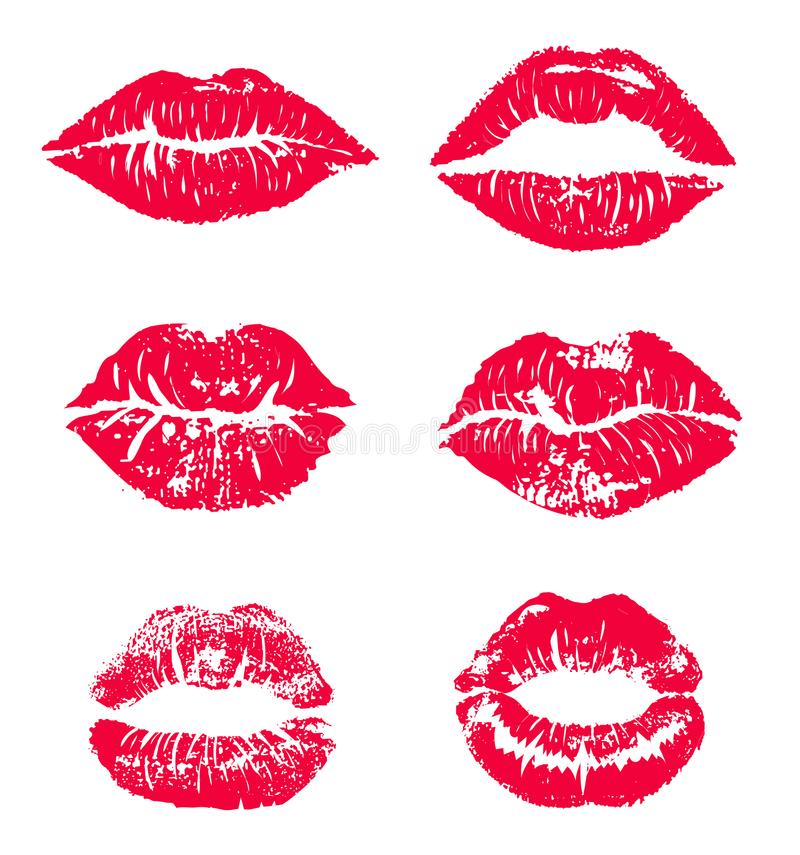Lipstick kiss print isolated vector set. red vector lips set. Different shapes of female red lips. lips makeup, vector illustration