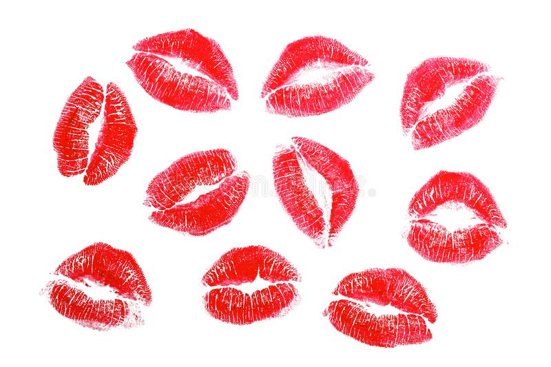 Lipstick kisses, isolated stock image