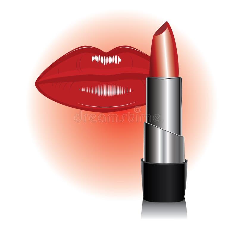 Lipstick and lip. Vector of lipstick and lip