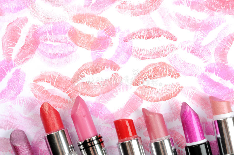 Lipstick and lips prints stock images