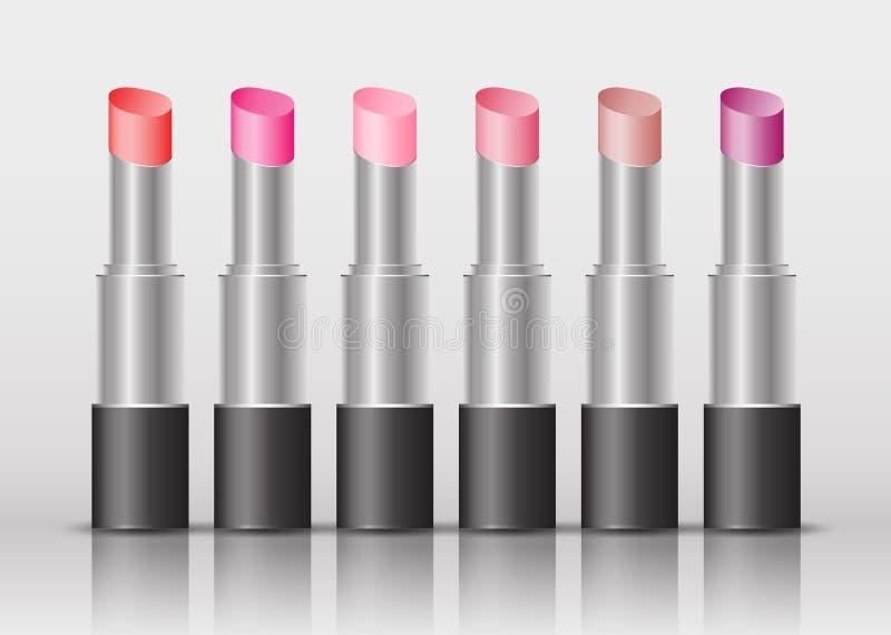 Lipstick mask bottle , cosmetic package design, beauty fashion, Make Up brand. Realistic mockup vector illustration royalty free illustration