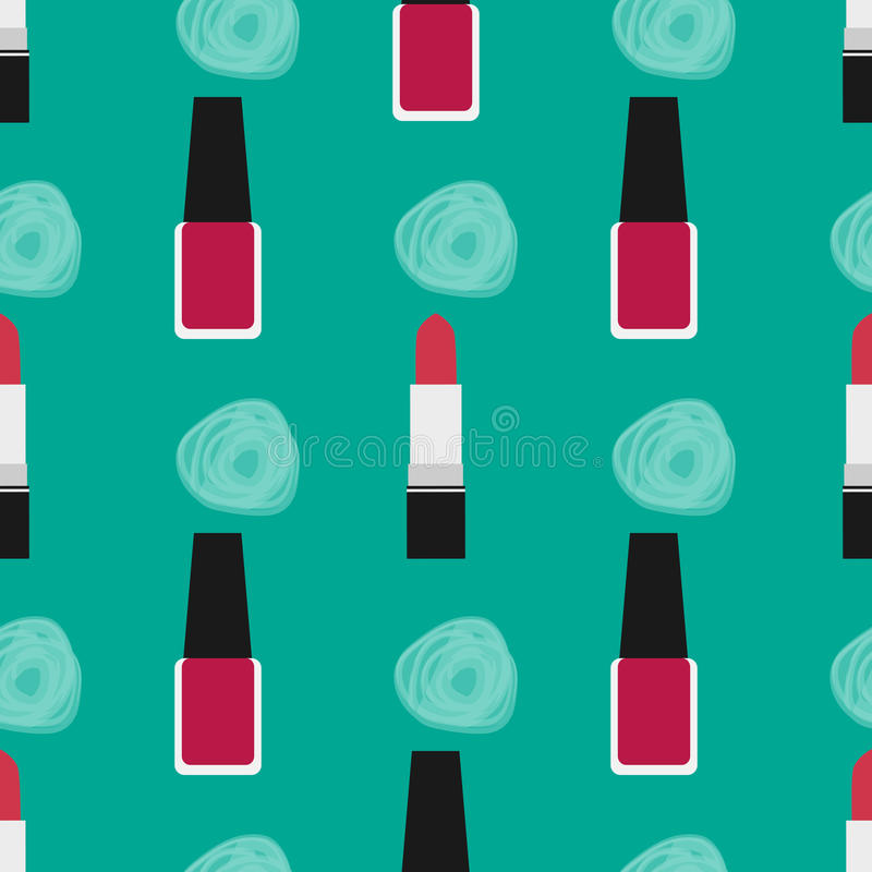 Lipstick with nail polish seamless pattern 2 vector illustration