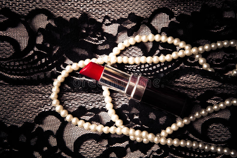 Download Lipstick pearls lace stock photo. Image of rouge, feminine - 22290380