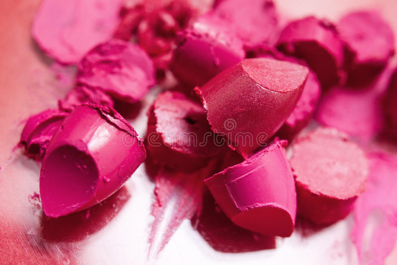 Lipstick pink samples of smeared cosmetics royalty free stock photography