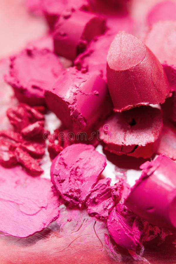 Lipstick pink smeared samples closeup royalty free stock photography