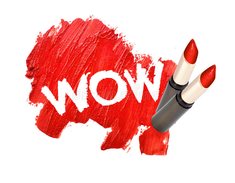 Lipstick smudged on white background with WOW. Text royalty free stock photos