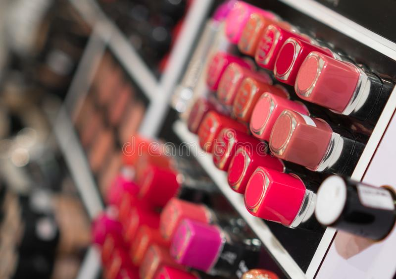 Lipstick testers. Lipstick testers in the beauty shop stock photos