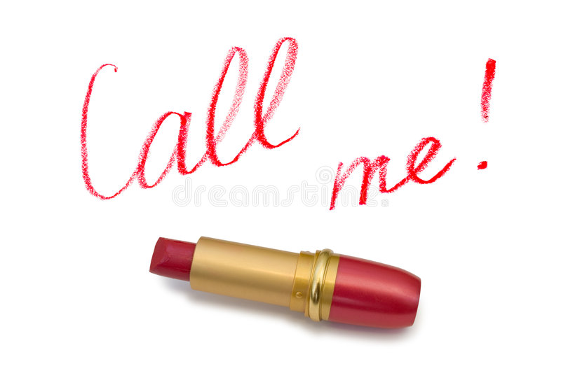 Lipstick and words Call Me royalty free stock image