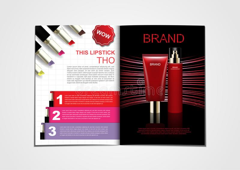 Lipsticks and cosmetic products on red abstract light background. For catalog or magazine stock illustration