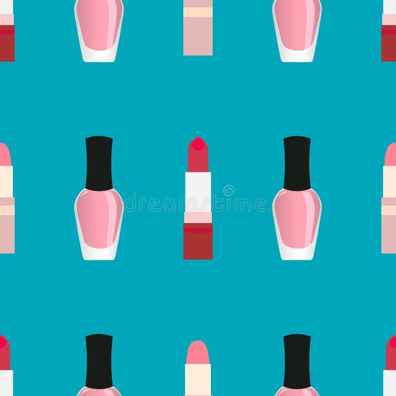 Lipsticks with nail polish seamless pattern royalty free illustration