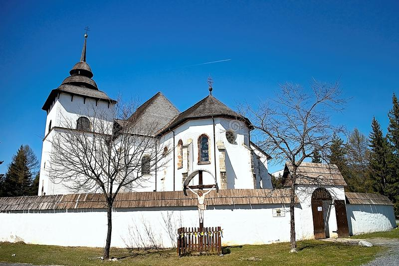 Attractive exposition of the Virgin Mary church from Liptovska Mara - Museum of Liptov village - open-air museum stock images