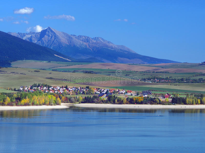 Liptovska Mara Lake, Liptovsky Trnovec and Krivan royalty free stock images