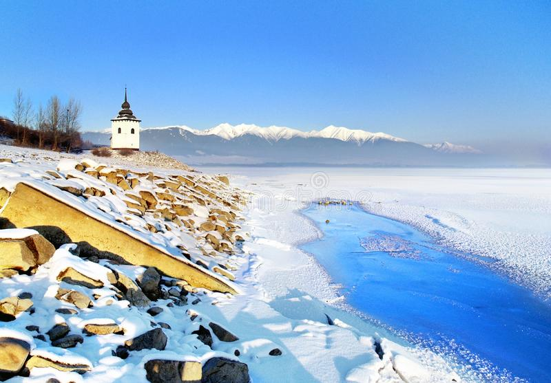 Liptovska Mara Lake In Winter Stock Photos