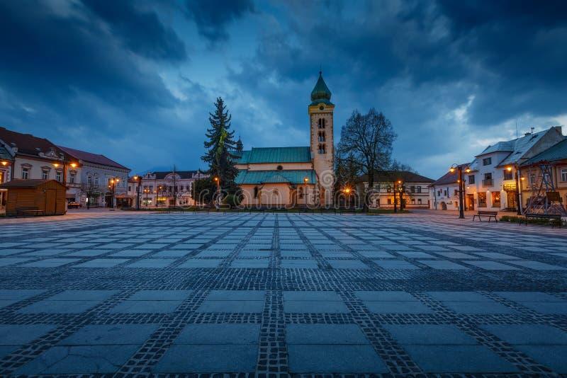 Liptovsky Mikulas, Slovakia. April 24, 2019: Church in the main square of royalty free stock photography