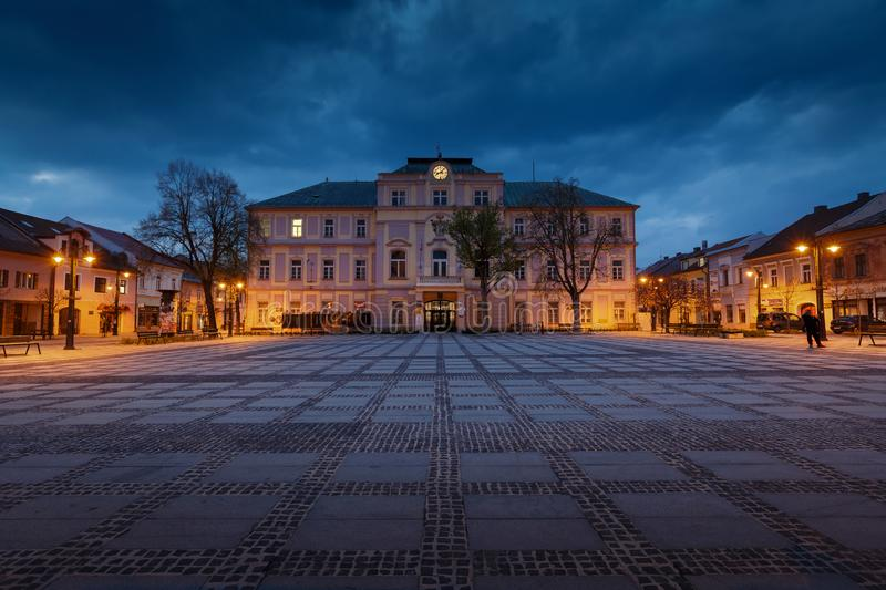 Liptovsky Mikulas, Slovakia. April 24, 2019: View of the main square in royalty free stock image