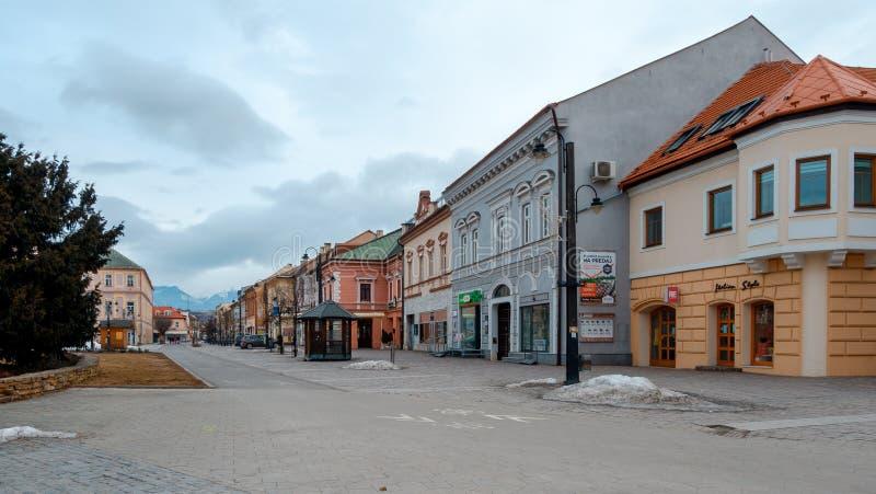 Liptovsky Mikulas Slovakien stad med floden på vinter arkivbild