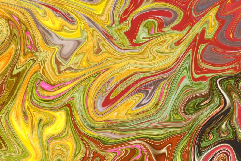 Liquefaça o teste padrão abstrato com amarelo, alaranjado, vermelho, cor-de-rosa e os gráficos verdes colorem Art Form Fundo de D ilustração do vetor