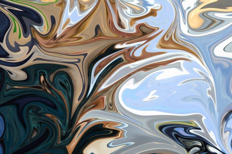 Liquefaça o teste padrão abstrato com azul, Brown, amarelo, preto e os gráficos verdes colorem Art Form Fundo de Digitas com liqu ilustração royalty free