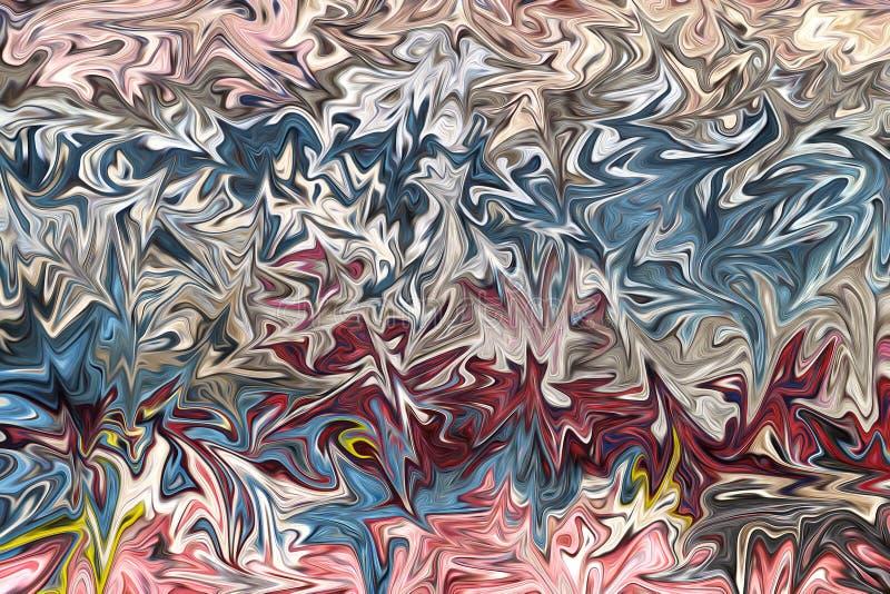 Liquefaça o teste padrão abstrato com rosa, coral, azul e os gráficos amarelos colorem Art Form Fundo de Digitas com fluxo de liq ilustração do vetor