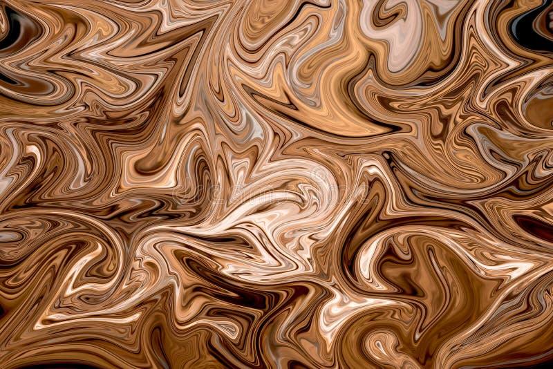 Liquefaccia il modello astratto con Brown, bianco e Grey Graphics Color Art Form Fondo di Digital con flusso di liquefazione illustrazione vettoriale