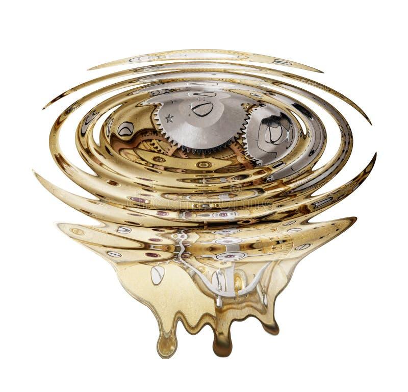 Liquefied clockwork. Digitally altered photo royalty free illustration