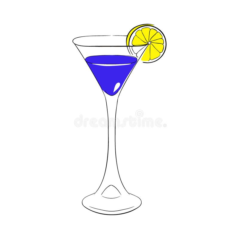 Liqueur blue Curacao in a tall glass, decorated with orange slice. Vector Hand drawn illustration. Liqueur blue Curacao in a tall glass, decorated with orange royalty free illustration