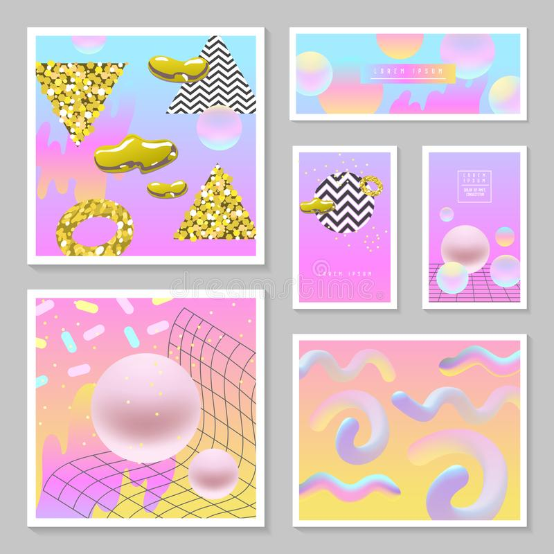 Liquid Abstract Templates Set. Fluid Colors with Golden Glitter Geometric Elements. Poster, Banner, Cards, Brochure, Cover stock illustration