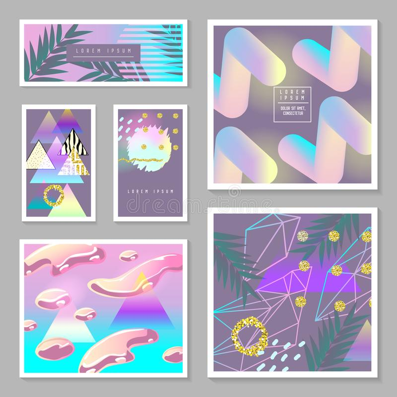 Liquid Abstract Templates Set. Fluid Colors with Golden Glitter Geometric Elements. Tropical Poster, Banner, Cards, Brochure vector illustration