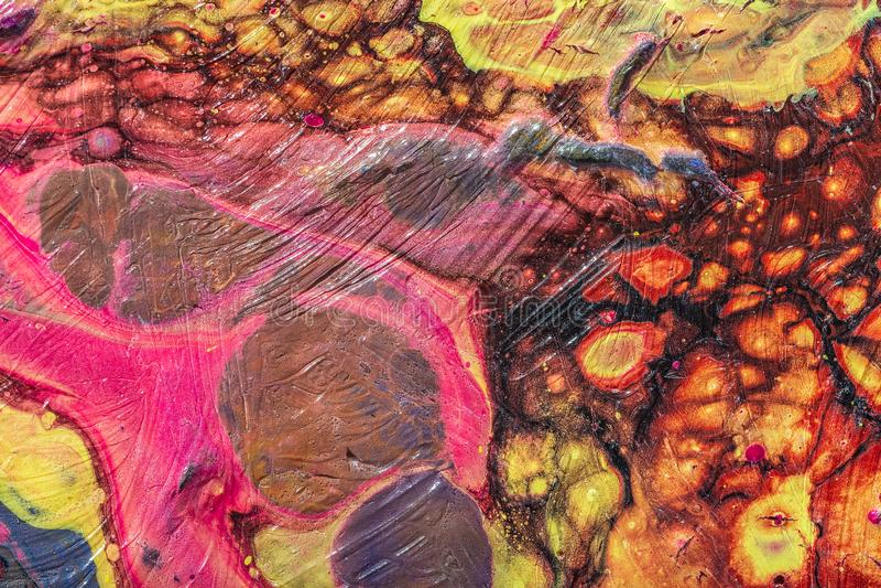 Liquid acrylic. Fluid art- color blot. Fluid art- marbled effect. Abstract artwork- stain, splashes, smearing the dye. Liquid acrylic- color blot. Pigment water stock photos