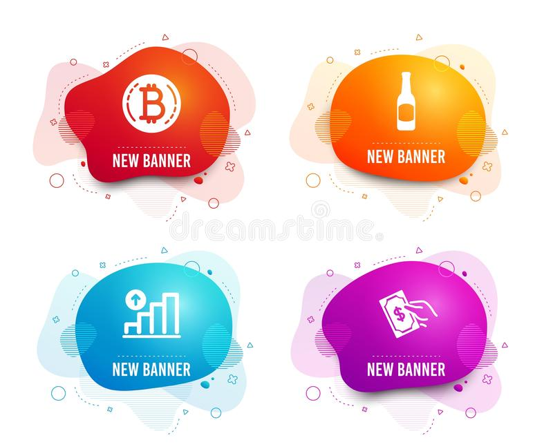 Bitcoin, Beer and Graph chart icons. Pay money sign. Cryptocurrency coin, Bar drink, Growth report. Hold cash. Vector. Liquid badges. Set of Bitcoin, Beer and vector illustration