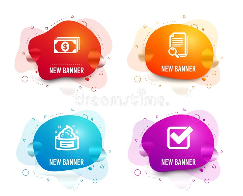 Skin cream, Banking and Search file icons. Checkbox sign. Medical cosmetic, Money payment, Find document. Vector royalty free illustration