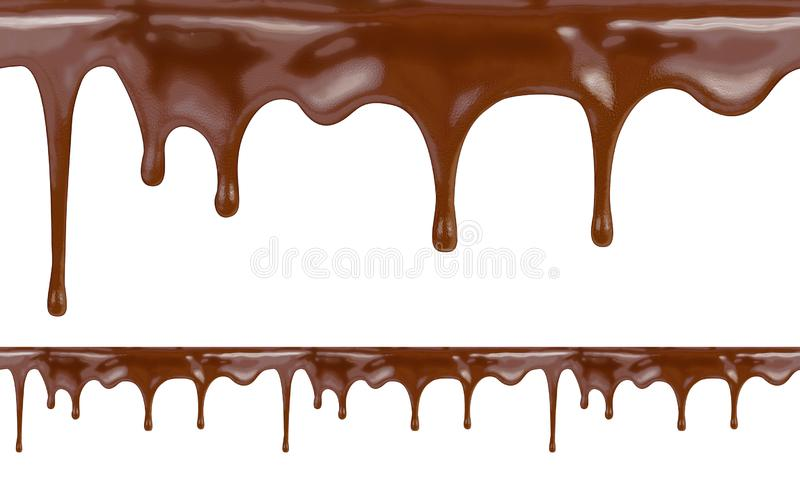 Liquid chocolate dripping from cake on white background with clipping path included. High resolution illustration. royalty free stock image