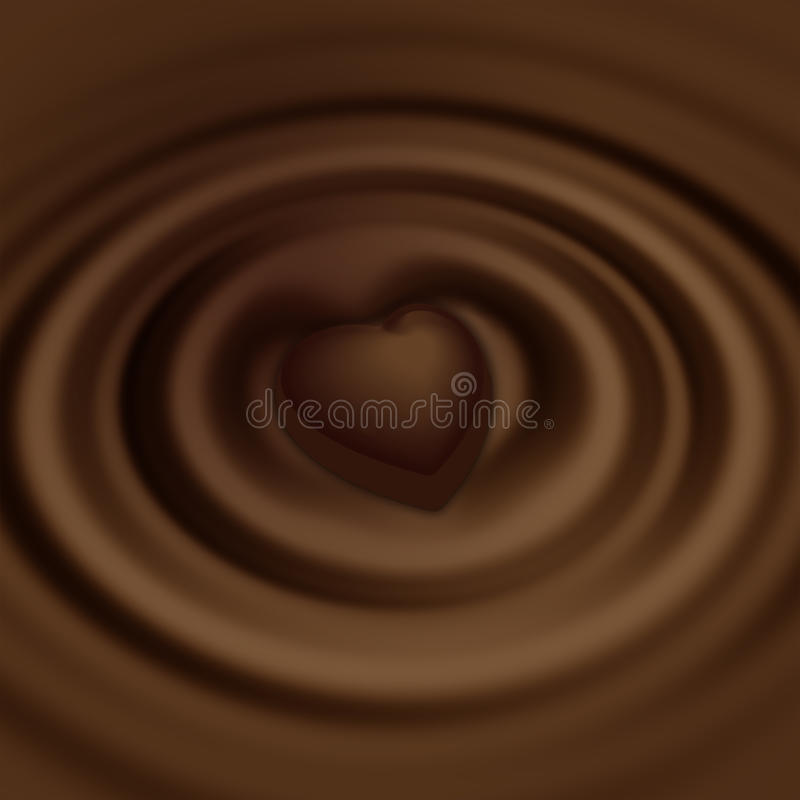 Liquid chocolate and sweet in the form of heart stock photography