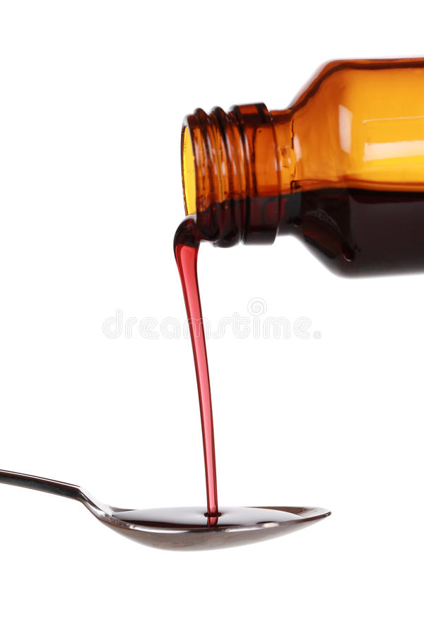 Liquid cold medicine royalty free stock photography