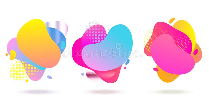Liquid color abstract fluid shapes halftone, dotted and stripe pattern background. Vector abstract liquid color gradient vector illustration