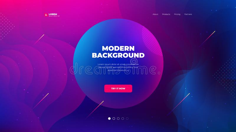 Liquid color background design for Landing page site. Fluid gradient shapes composition. Futuristic design posters. Eps10 vector royalty free illustration