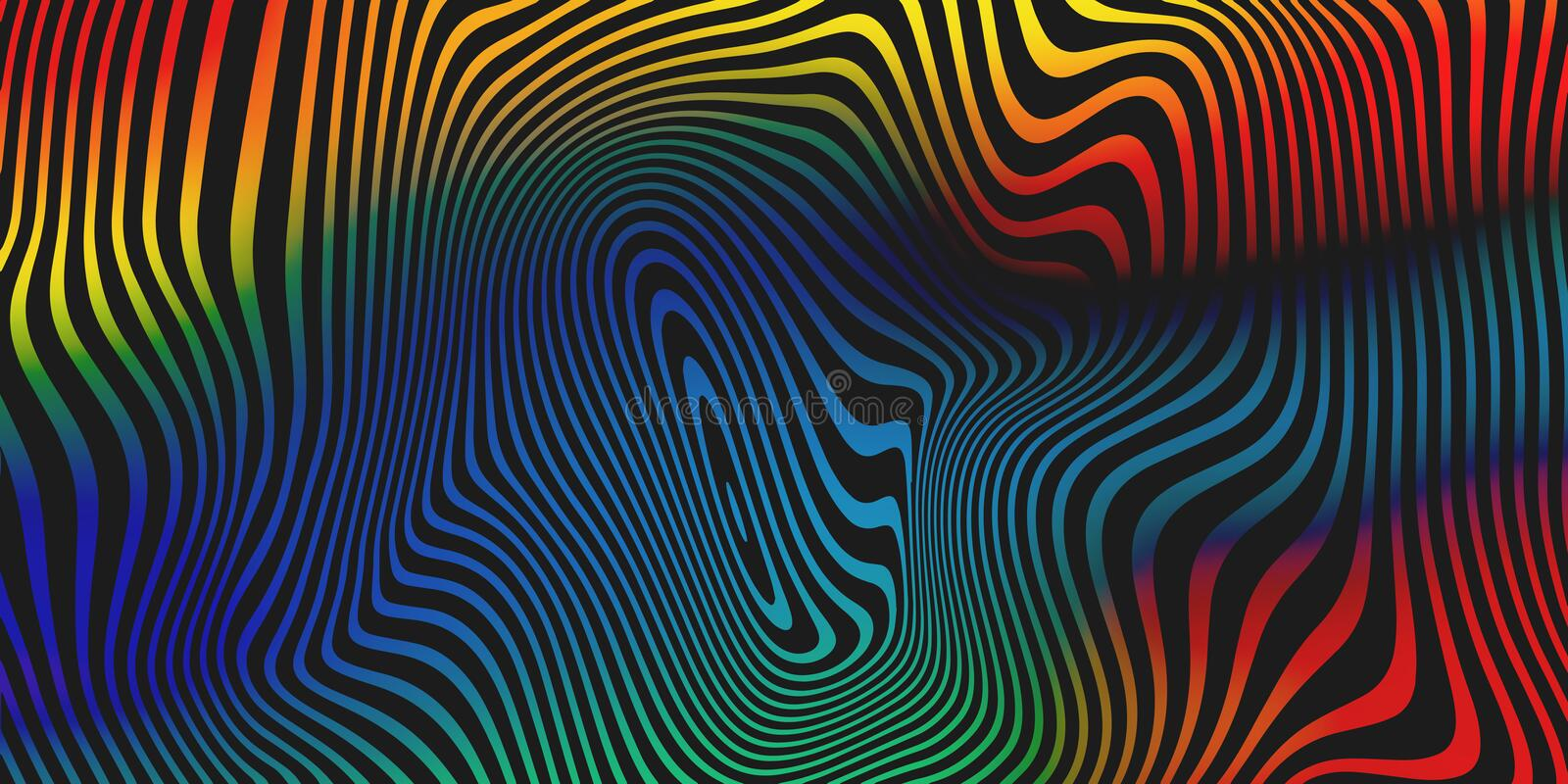 Liquid color blend vector abstract background. Holographic iridescent fluid colors stripes pattern background stock illustration