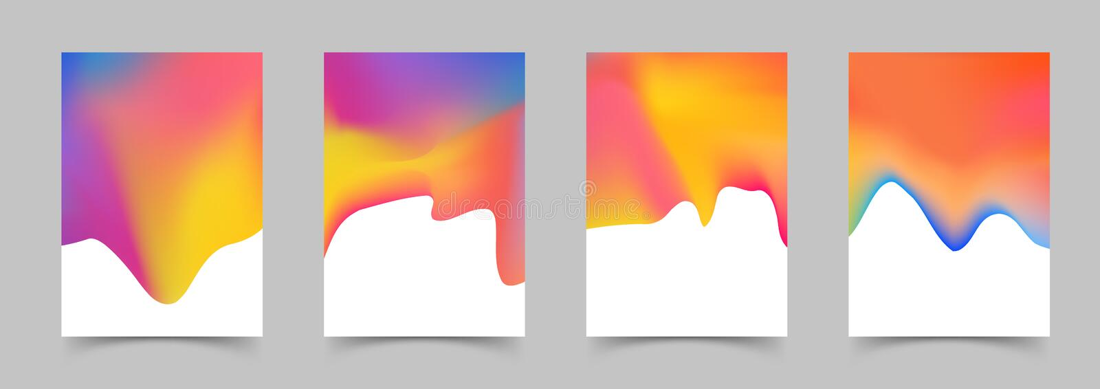 Liquid color Poster templates Modern Abstract Covers Collection. Elegant bright light paint colorful retro folder backgrounds set. Vector illustration stock illustration