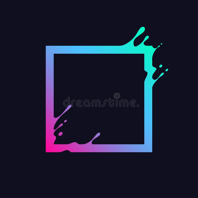 Liquid colorful square. Abstract gradient rectangle shape with splash and drops. Flux effect design for logo, banner, poster. royalty free illustration