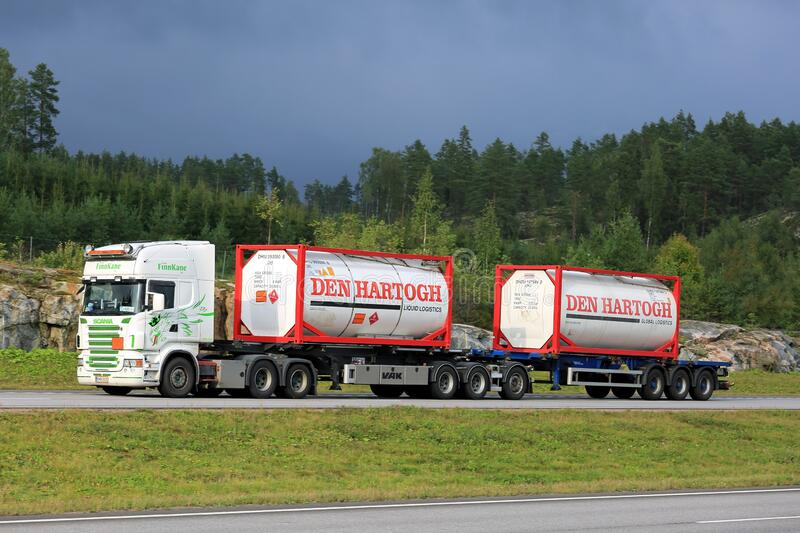 Liquid Container Truck Transport on Motorway royalty free stock photography
