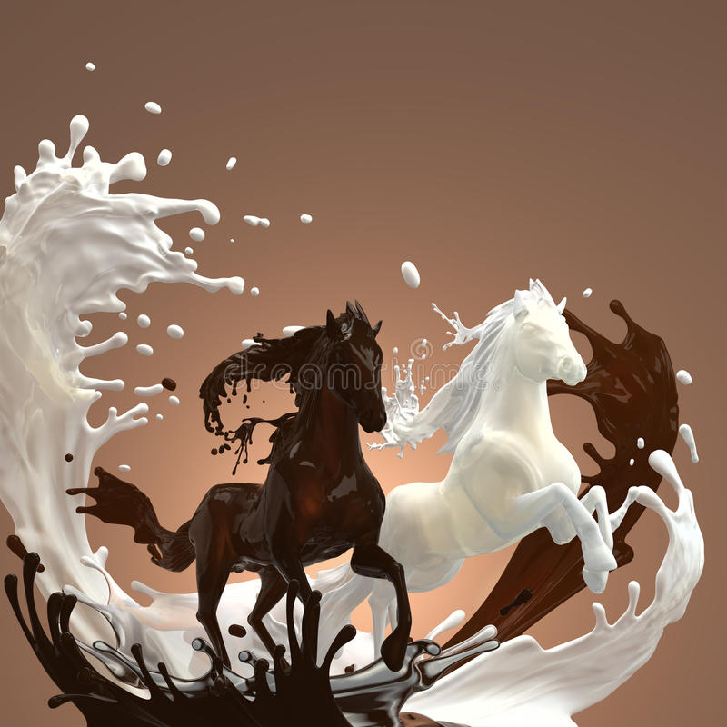Liquid creamy and hot chocolate horses. Creamy milky and hot brownish chocolate liquid horses running gallop over mixed splashes making bunch of drops