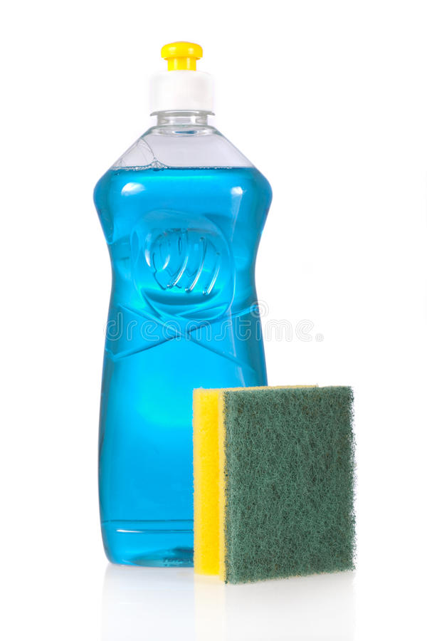 Free Liquid Detergent Bottle And Scouring Pad For Dish Stock Photo - 27188840