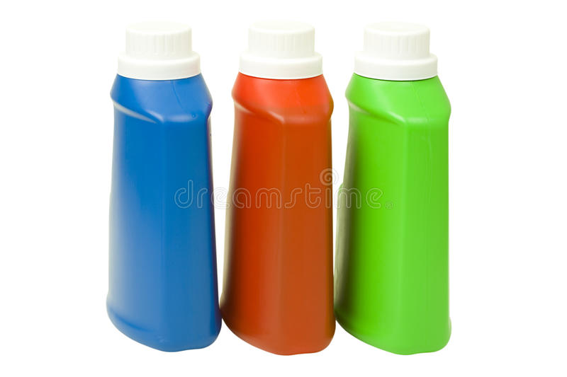 Liquid Detergent in Colorful Bottles royalty free stock photography