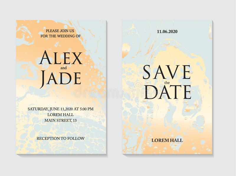 Liquid flow surface background with golden glitter texture on blue. Elegant modern card template, good for presentation. Invitation, flyer, annual report royalty free illustration