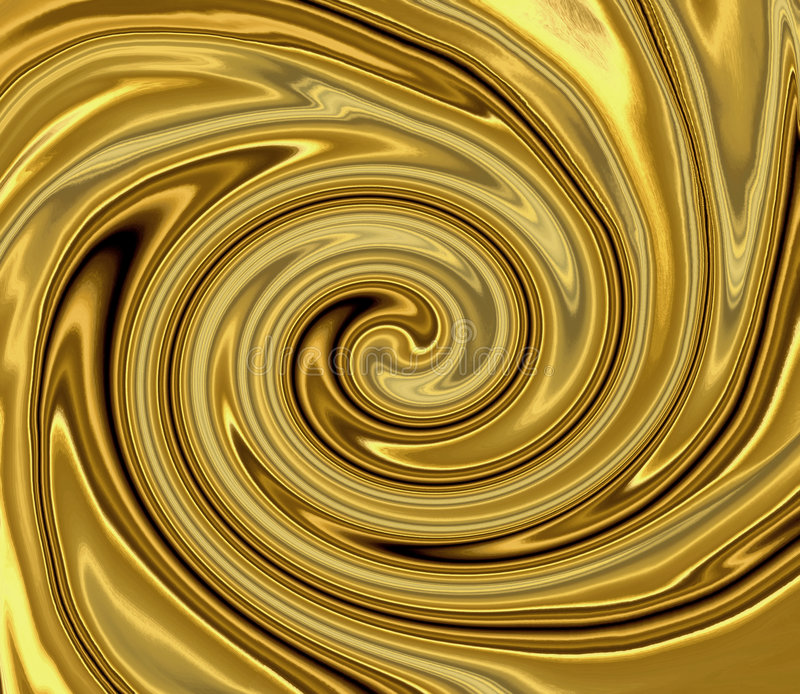 Liquid Gold Swirl. Swirling shiny and silky smooth metallic liquid gold background royalty free illustration
